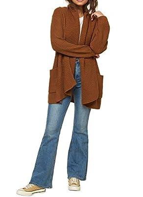 O'NEILL Women's Open Front Long Sleeve Cardigan Sweater (Caramel/Galley, M) from O'NEILL