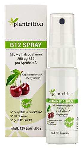 plantrition (actieprijs) vitamine B12 spray vegan 250 μg methylcobalamine per sproeiboot - kersensmaak 125 spray (alternatief voor druppels en capsules)