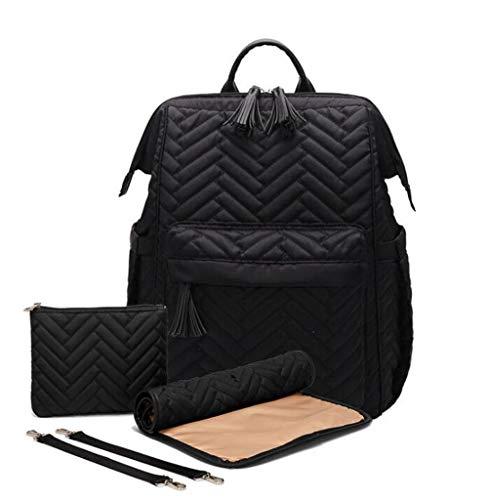 Etyybb Bolsa de bebé, Mochila de pañales de gran capacidad, bolsa de cambio de pañal impermeable, mochila de viaje duradera, Maternidad elegante Bolsas de pañales para mamá / papá-negro_L