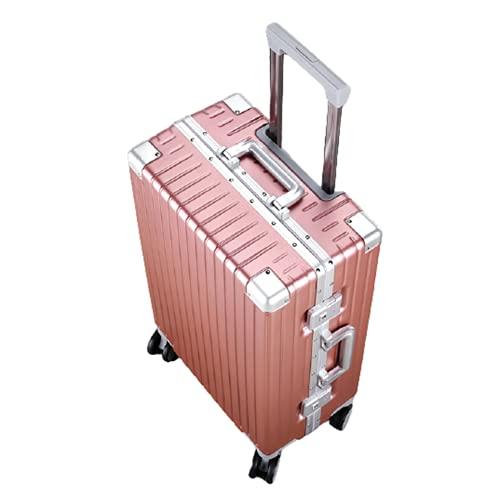 KJDPP Valigie Trolley da Uomo e da Donna Valigia con Telaio in Alluminio Valigia da Viaggio Valigia Universale con Ruote di Grandi Dimensioni Multifunzione,Pink,26 Inches