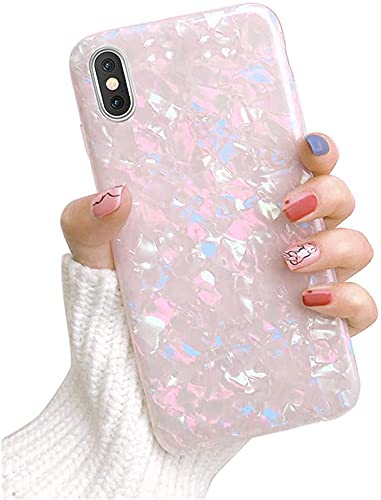 Dailylux iPhone XR 6.1 inch 2018 Case,Cute Phone Case for Girls Glitter Pretty Design Protective Slim Shockproof Pearly-Lustre Shell Bumper Soft Silicone TPU Cover, Colorful