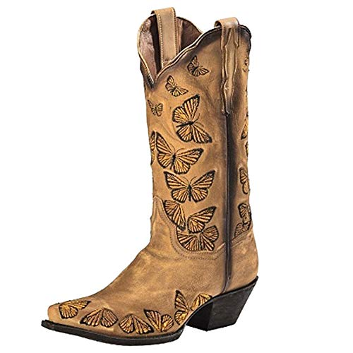 Aniywn Western Boots for Women Sunflowers Cowboy Boots for Women Mid Calf Chunky Heel Knee High Pull On Bootie Shoes