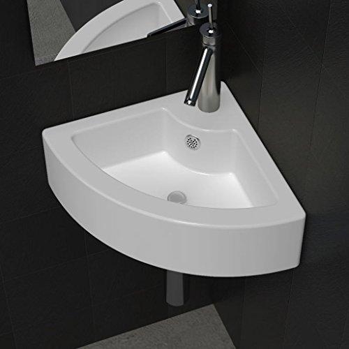 Luckyfu Badinstallation Keramik Eck Waschtisch Waschbecken mit ¨¹berlauf Wei? Abmessungen: 460 x 330 x 125 mm (B x T x H) Waschtisch Waschbecken