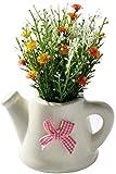 Florero Flores Artificiales Set de Flores Artificiales Gypsophila Paniculat + Cerámica Macetas Pequeñas Flores Bonsai Flor Falsa, Color: Amarillo, Rosa