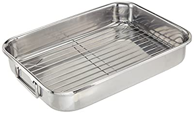 ExcelSteel Multiuse with Rack and Foldable Handles for Easy Storage Stainless Steel Roasting Pan, 14""
