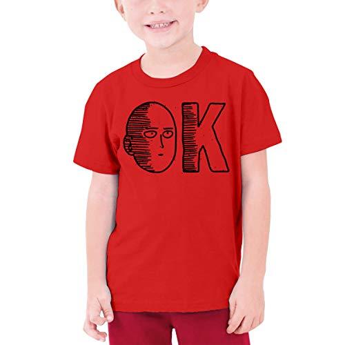 One Punch Man Boys and Girls Tshirts Youth Short Sleeve T-Shirts Teenage Tees Red Medium
