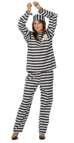 spass42 Damen Sträflingskostüm Anzug Langarm und Kappe Sträfling Häfting Kostüm Gefängnis Frauen Knast Groesse: L/XL