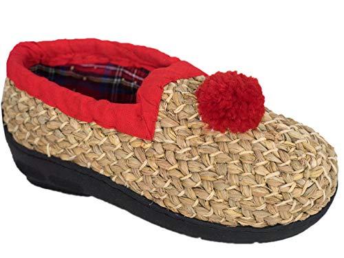 Goldschmidt Kostüme Strohschuhe Maisstroh handgeflochten für Erwachsene und Kinder (Weizenstroh rot mit Bommel, 47)