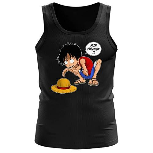Débardeur Homme Noir Parodie One Piece et Seigneur des an. - Luffy et Gollum - Mon Précieux (Super Deformed) (Débardeur de qualité Premium de Taille L - imprimé en France)