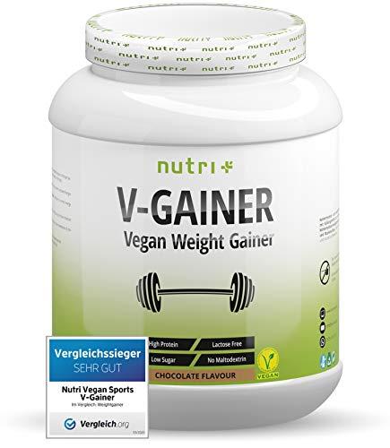 WEIGHT & MASS GAINER Schokolade 2 kg Vegan - Kalorienreiche Schoko Trinknahrung für Masseaufbau & Zunehmen - V-GAINER ohne Maltodextrin & Zucker - Protein 2000g - 38,2% Eiweiß