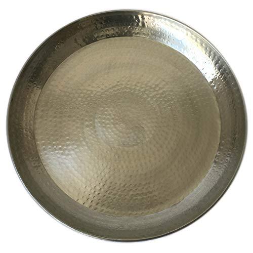 Kersten Orientalisches Silbernes XXL Tablett aus gehämmertem Metall Ø 58 cm   Marokkanisches Serviertablett Rund   Dekotablett Schale für Schwimmkerzen