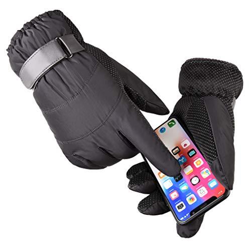 ENKARL Guantes para uso al aire libre, Guantes térmicos de hombre para invierno aptos para pantallas táctiles con muñeca ajustable y con gel de silicón antideslizante (Gris oscuro)
