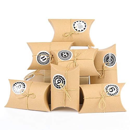 EKKONG Adventskalender zum Befüllen, 24 Adventskalender Kraftpapier Tüten mit 24 Zahlenaufklebern für Weihnachten zum Basteln und Verzieren, Weihnachts-Geschenktüte zum DIY