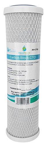 "AquaHouse AH-CTO5 Cartuchos de filtro de agua de bloque de carbono de 10\""para agua potable, sistemas de ósmosis inversa, para todas las carcasas de filtro de 10\"""