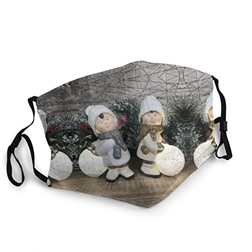 Christmas Boy Girl Hand Painted Winter Ornaments with Led Light Up Snowballs.Jpg Costom Face Shielf, Dust Washable Reusable and Warm Windproof Bandana Black
