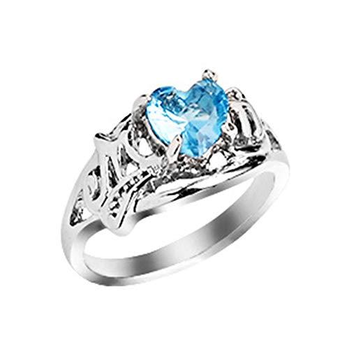 EzzySo Anillo de Amor, Personalidad Europea y Estadounidense Día de la Madre Día de la Madre Imitación de Diamantes de Diamante Joyería de Anillo (2 PCS),B,9