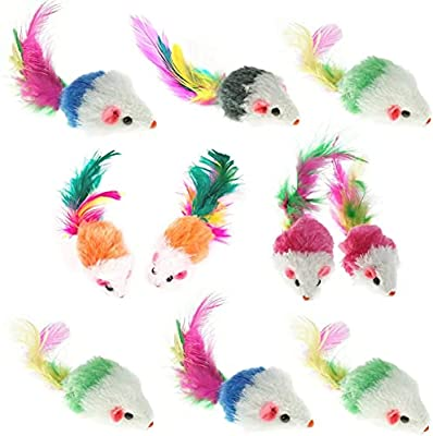 Aftermarket Furry Pet Cat Toys Mice, Cat Toy Mouse, Pet Toys for Cats, Cat Catcher for Feather Tails, 10 Counting from Keklle