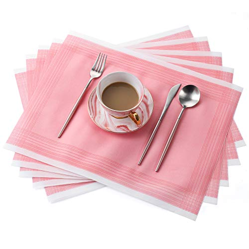 MORGIANA Disposable Pink Table Mats, Linen Feel Airlaid Napkins Paper, Eco Friendly Dining Placemat serviettes for Party, Wedding, Restaurant, 43cm x 33cm, Pack of 25 (Pink)