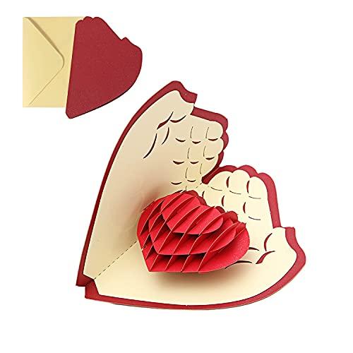 TSHAOUN Biglietto di Auguri Pop Up 3D, Biglietto di Compleanno Romantico per Moglie, Marito, Fidanzata, Biglietti per Matrimonio, Natale, San Valentino, Festa Della Mamma (Cuore)