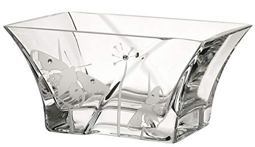 Anna's Exclusive Decor - Ciotola in vetro soffiato a mano, decorata con cristalli Swarovski + farfalle, in vetro senza piombo, piccolo centrotavola, diametro 18 cm