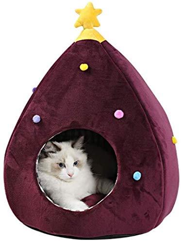EREW Cama para mascotas, de algodón de cristal del árbol de Navidad de la perrera del gato, totalmente cerrado de invierno grueso y cálido nido de la perrera del gato de la arena del gato,