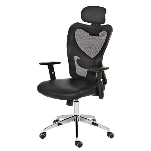 Mendler Profi-Bürostuhl Atlanta, Chefsessel Drehstuhl Schreibtischstuhl, Kunstleder ~ grau