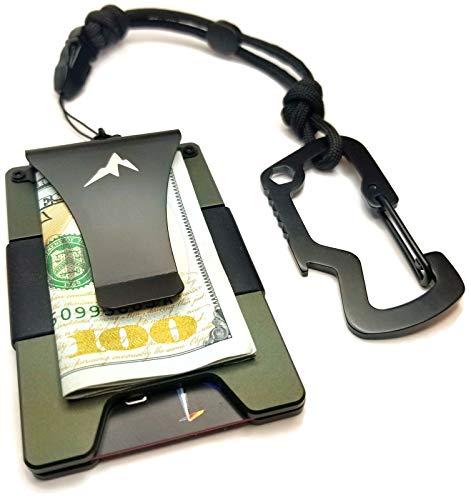EDC Rigid Minimalist Money Clip Tactical Wallet -RFID Blocking Front Pocket Slim Credit Card Wallet w/550 Paracord Lanyard/Carabiner(Olive Drab Green)