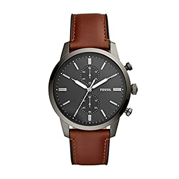 Fossil Men s Townsman Quartz Stainless Steel and Leather Chronograph Watch Color  Smoke Amber  Model  FS5522