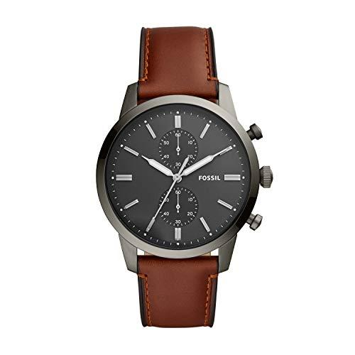 Fossil Men's Townsman Quartz Leather Chronograph Watch, Color: Smoke, Brown (Model: FS5522)