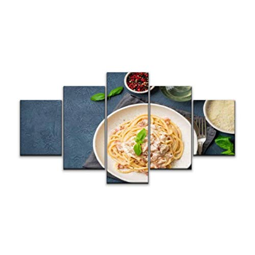 5 panels Wall Art Print On Canvas carbonara pasta spaghetti with pancetta egg parmesan cheese and cream Modern Abstract Picture Poster for Home Decor Stretched and Framed Ready to Hang (60''Wx32''H)