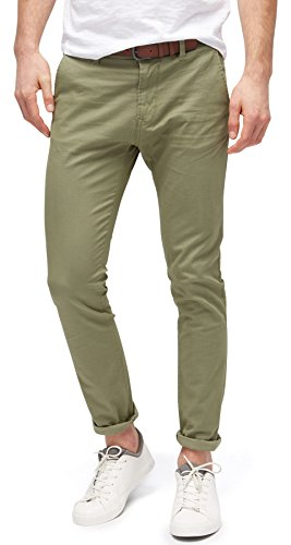 TOM TAILOR Denim Herren Skinny Chino solid with Belt Hose, Grün (Oak Leaf Green 7512), W31/L34 (Herstellergröße: 31)