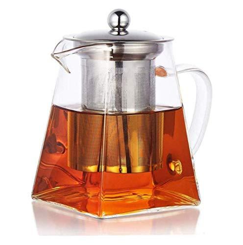 JQ Glazen theekan, filtertheepot, hittebestendige theeset van roestvrij staal, bestand tegen hoge temperaturen