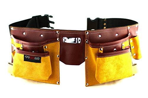 Cinturón portaherramientas de cuero de calidad con 11 bolsillos, cinturón...