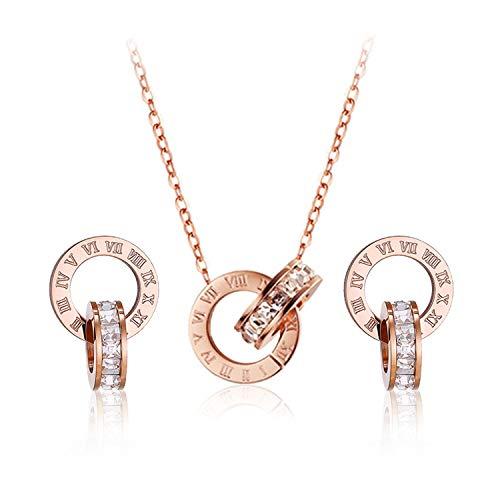 Conjunto de joyas chapado en oro rosa anillos de mujer pendientes y collar conjunto para mujeres niñas joyería hipoalergénica