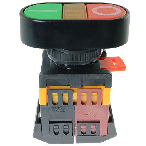 Magic&shell APBB-22-25N - Interruptor de botón momentáneo (2 unidades, CA 380 V, 10 A, encendido y apagado)