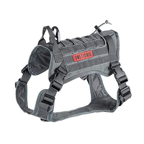 OneTigris Tactical Dog Training Vest No Pull Harness for Dogs,Adjustable K9 Dog Hiking Harness Working Vest(Grey, Large)