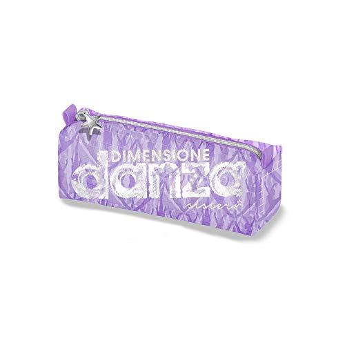 DIMENSIONE DANZA SISTERS, Astuccio scuola elementare bauletto, Astuccio piccolo con personalizzazione in stampa glitter, Astuccio penne con zip, Dimensione 21x7x6 cm (Lilla)