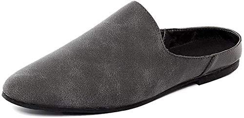 [BOREVIC] ビジネススリッパ メンズ かかとなし スリッポン ビジネスサンダル オフィスサンダル サボ クロックスサンダル 黒 革 ドクターサンダル スエード カジュアル 革靴 通勤 職場用 591-grey41