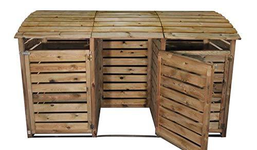 MEIN GARTEN VERSAND Mülltonnenbox aus Holz, Mülltonnenverkleidung - dreifach (für 3 Tonnen bis 240 Liter), wetterfest und somit ideal für draußen/Outdoor geeignet