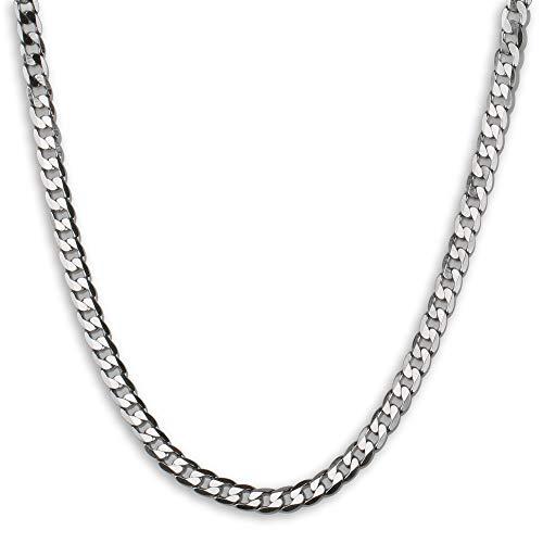 「silverKYASYA」ステンレス 喜平チェーンネックレス シルバー 喜平ネックレス きへい メンズ ネックレス シンプル (55, 幅7mm)