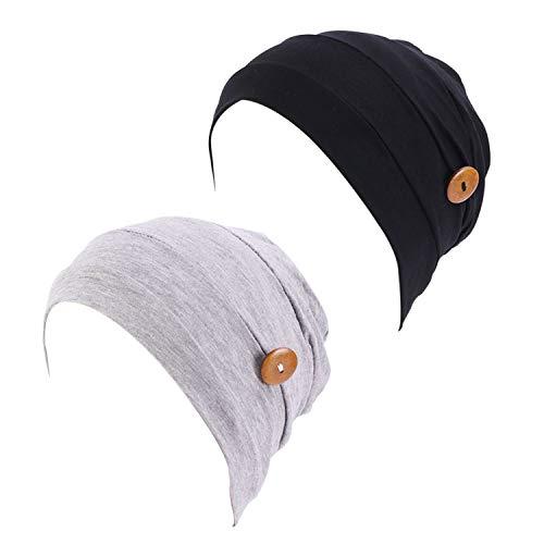 2 Piezas Turbante para Mujer Gorros de Dormir Algodón Modal Pañuelos Cabeza Mujer con Botones Sombrero Pañuelo Gorro Turbante para Mujer Pérdida de Pelo Quimioterapia