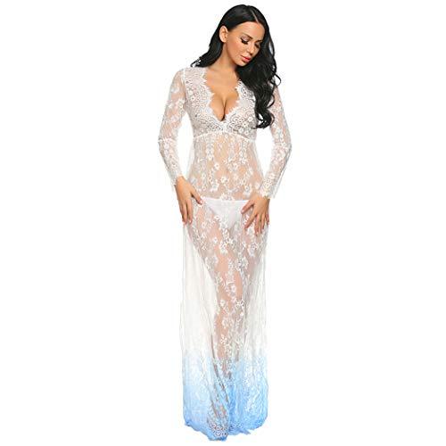 COSYOU Sexy Deep V-Neck Long Sleeve Lace Dress Beach Maxi Dress Photography Dress for Photo Shoot Party Dress (XXXL, White Blue)