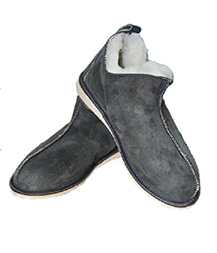 Verkoop Hand Made Kwaliteit Leer Grijs Snoep Slippers Wol Slippers Grijs Wol Slippers. Laarzen met warme en natuurlijke pantoffels, perfect als cadeau. Enkellaars Slippers