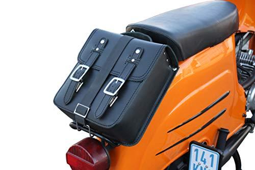 Kleine Leder Hecktasche mit Schnellverschluss Gepäckträger Tasche Packtasche Schwarz für Simson Schwalbe Sperber Star Spatz KR50 KR51 SR4 …