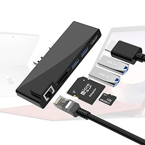 Docking station per Surface Pro 6 Pro 5 Pro 4,hub Rocketek MS Surface USB 3.0 con 4K HDMI,2 porte USB 3.0,lettore di schede SD/Micro SD,docking combinata con porta Internet 1000M per Surface Pro 6/5/4