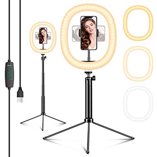 EIVOTOR 12 Zoll Ringlicht mit Stativ LED Selfie Ringleuchte Dimmbar 3 Lichtfarben 10 Helligkeitsstufen Tischringlicht mit Handyhalter Live Licht für Tiktok Video-Chat YouTube Volg Live-Stream Makeup