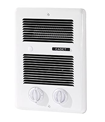 Cadet Com-Pak Bath 1000W 120V/240V best bathroom electric wall heater with thermostat and timer, white