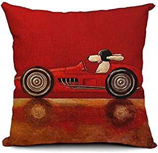 Cartoon Cute Dog Driving Cotton Pillow Case Home Office Pillowcase - Red