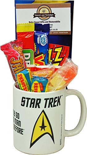Star Trek Boldy Go Badge Emblem Mug filled with Retro Sweets