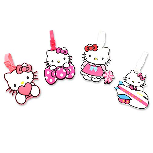 Finex 4 Pcs Set Hello Kitty Silicone Travel Luggage Baggage Identification Labels ID Tag for Bag Suitcase Plane Cruise Ships with Belt Strap